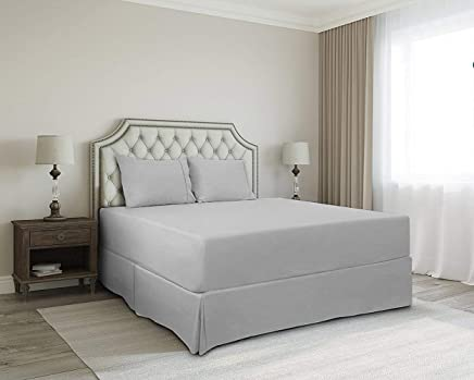 SRP Bedding Real 350 Thread Count Split Corner Bed Skirt / Dust Ruffle Queen Size Solid Silver Grey 12 inches Drop Egyptian Cotton Quality Wrinkle & Fade Resistant