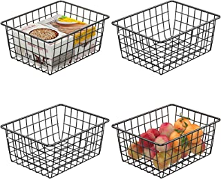 Wire Baskets, Cambond 4 Pack Wire Storage Basket Durable Metal Basket Pantry Organizer Storage Bin Baskets for Kitchen Cabinets, Pantry, Bathroom, Countertop, Closets (Black, Small)