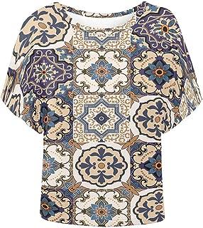 INTERESTPRINT Women O Neck Batwing Sleeve T-Shirt Casual Blouse Top