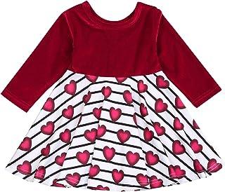 Viworld Toddler Baby Girls Valentine's Day Dress Velvet Heart Princess Playwear Outfits One-Piece