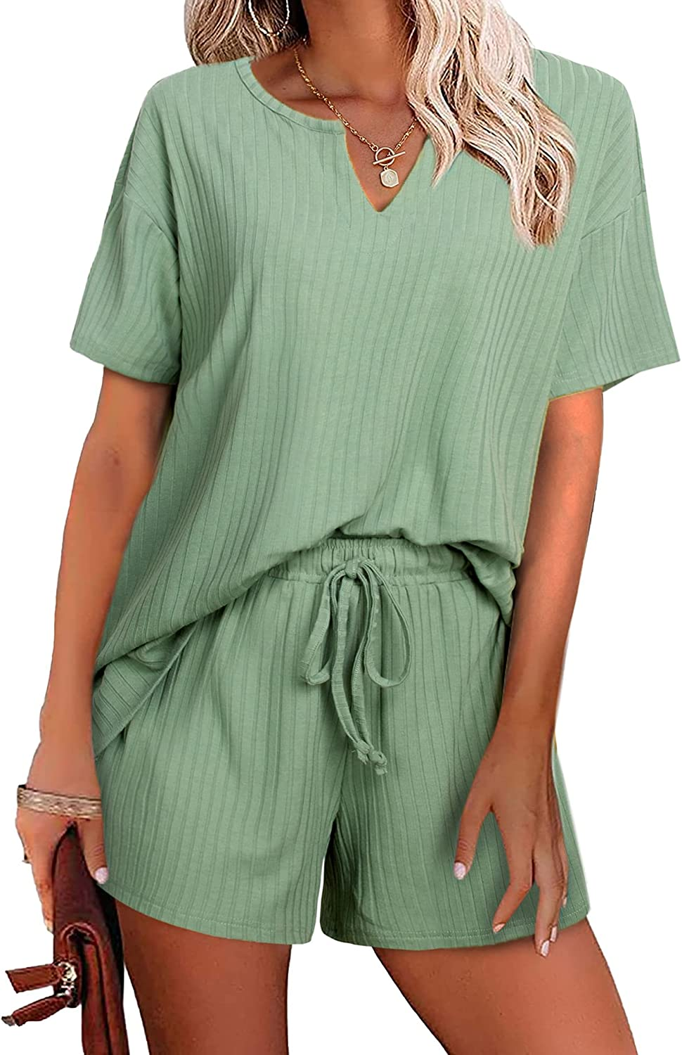 Women's 67% OFF of fixed price Department store Ribbed Knit Lounge Sets Short Sleeve Summer Pajama