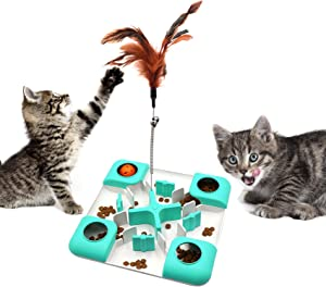 Letofun Cat Food Dispensing Puzzle Feeder Maze Toy, Interactive Slow Feeder Bowl to Improves Digestion,3 Level Challenges Treat Dispenser Toy for Kitty, Non-Slip Enrichment Activities Toys for Cats