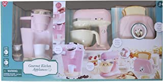 Kitchen Appliances GOURMET Child Size (Pink & Off White) w BATTERY Operated COFFEE MAKER (Dispenses Water), Battery Operated MIX MASTER, and TOASTER has POP-UP Action