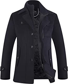 APTRO Men's Winter Coats Fleece Lining Wool Jacket Warm Car Coat
