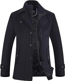 APTRO Men's Winter Wool Blend Jacket Fleece Lining Detachable Collar Single Breasted Warm Pea Coat