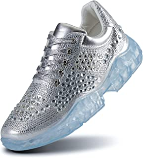 CHUI Female Fashion Walking Sneakers Glitter Crystal...