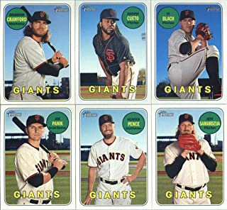2018 Topps Heritage San Francisco Giants Team Set of 11 Cards: Ryder Jones/Reyes Moronta/Miguel Gomez(#16), Ty Blach(#39), Brandon Crawford(#51), Johnny Cueto(#64), Jeff Samardzija(#197), Buster Posey(#235), Joe Panik(#254), Hunter Pence(#257), Matt Moore(#272), Buster Posey(#293), Brandon Belt(#319)