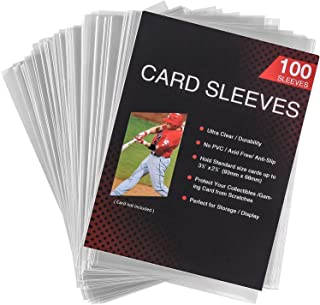 100 Packs Card Sleeves Toploaders for Trading Card, Standard Size Soft Clear Baseball Card Sleeves Fit for Football Card, ...