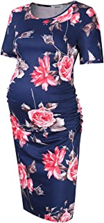 Maternity Dress Ruched Round Neck Maternity Dresses