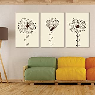 wall26-3 Panel Canvas Wall Art - Hand Drawing Style Flowers on Light Yellow Background - Giclee Print Gallery Wrap Modern Home Decor Ready to Hang - 16