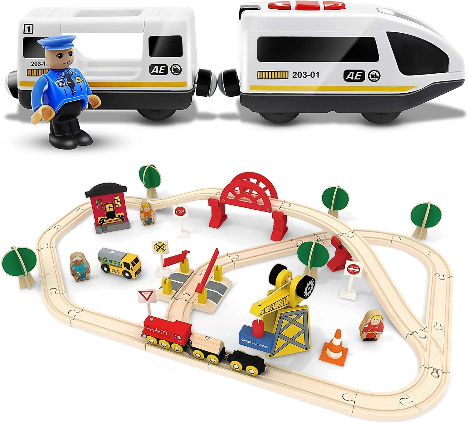 60Pcs Wooden Train Set Ranking Recommendation TOP20 Action Operated +Battery Locomotive