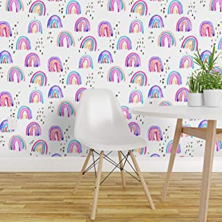 Spoonflower Pre-Pasted Removable Wallpaper, Colorful Watercolor Doodle Paint Scribble Rainbow Hawaii Print, Water-Activated Wallpaper, 12in x 24in Test Swatch