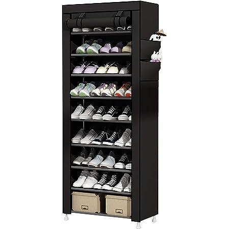 UDEAR Rangement Armoire étagères à Chaussures 10 Couches Meubles à Chaussures avec Housse Noir