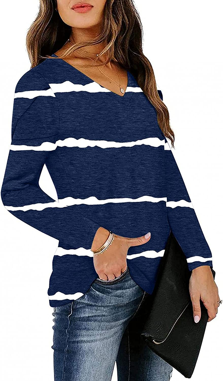 MASZONE Shirts for Women Trendy Aesthetic Long Sleeve Crewneck Sweatshirts Stripe Print Casual Loose Tunic Blouses Tops