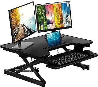 Standing Desk Adjustable Desk Stand Up Desk Computer Workstation 32 inches Home Office Coverter Riser Computer Desk with Keyboard