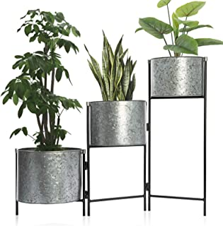 Set 3 Large Hinged Galvanized Planters Outdoor & Indoor, Metal Farmhouse Decor for Garden, Patio, Porch & Balcony, Pots with Stand, Front Door Decorative Planting Container, Modern Rustic Decoration