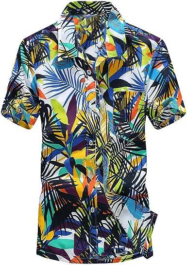 Camisa Hombre Estampada Manga Corta,Camisa Hombre Casual ...