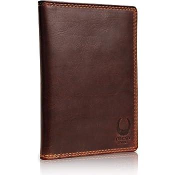 Corno d´Oro Leder Reisepasshülle mit RFID Schutz, schmales Reisepass-Etui Holder, Slim Passport Hülle als Schutzhülle braun CD101