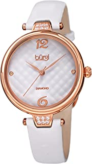Leather Women's Watch - Smooth Leather Strap - Three Hand Movement with Unique Markers - Onion Crown - Round Analog Quartz - BUR222