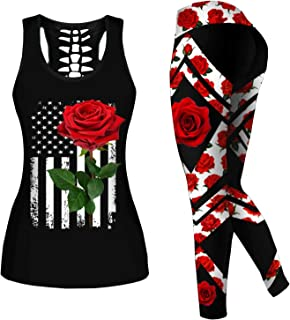 Women 2 Piece Casual Sweatsuit Skull Outfits Printed Tank Tops Yoga Leggings Jogger Sets Activewear