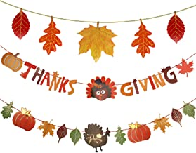 Set of 3 Happy Thanksgiving Day Fall Banner Give Thanks Bunting Maple Leaf Banner Paper for Thanksgiving Party Celebration Party Decoration