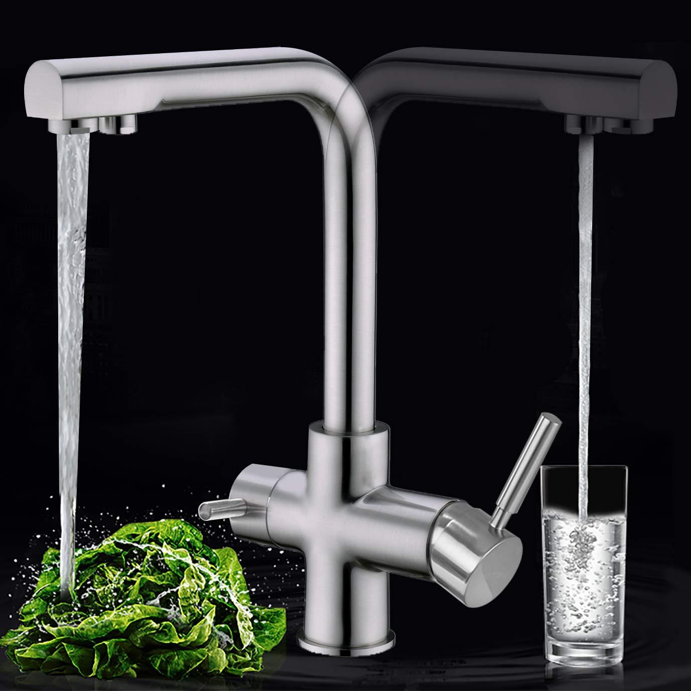 BZOOSIU Grifos de cocina con filtro de agua de 3 v/ías Grifos de agua potable CREA con dos manijas Grifo de lat/ón macizo de 3 v/ías Grifo mezclador de cocina de n/íquel cepillado
