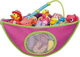 AUMA Bath Toy Organizer Storage Bag, Baby Shower Toys Corner Bag, Kids Waterproof Toy Holder, 4 Strong Suction Hooks, Pink