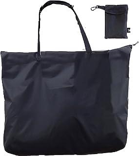撥水加工 折りたたみ ファスナー トートバッグ (手のひら コンパクト になる 収納袋 付き) 大型 M 41×58×20cm