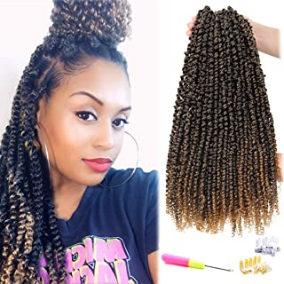 8 Packs Pre-twisted Passion Twist Crochet Hair Pre-looped Water Wave Crochet Braids Hair for Passion Twist Hair Bohemian Synthetic Braiding Hair (18 inch 8 Pcs, T1B27)