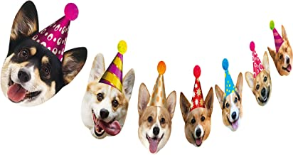 Silvima Dogs Birthday Garland, Funny Corgi Face Portrait Birthday Banner, Dog Bday Bunting Decoration