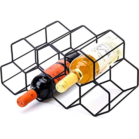 Amazon Com Countertop Wine Rack 9 Bottle Wine Holder For Wine Storage No Assembly Required Modern Black Metal Wine Rack Wine Racks Countertop Small Wine Rack Wine