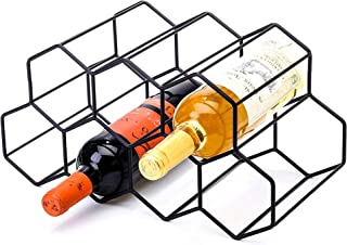 CMCNCBC Black Metal Wine Rack Freestanding, Tabletop Wine Rack Holder, Countertop Wine Bottle Holder - Geometric Design fo...