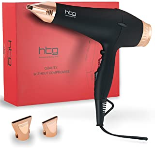 HTG Professional Hair Dryers Ionic Blow Dryer 1875w AC Motor Hair dryer for Salon Use with Infrared Tech & Ion Negative Make Hair Shinny and Healthy With Premium Soft Touch Body Dryer (Black)