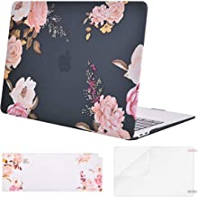 MOSISO MacBook Air 13 inch Case 2019 2018 Release A1932 with Retina Display, Plastic Pattern Hard Shell & Keyboard Cover & Screen Protector Only Compatible with MacBook Air 13, Pink Peony