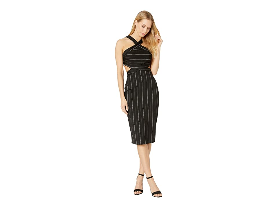 Bebe Stripe Strappy Midi Dress (Black/White) Women's Dress