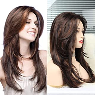 N&T Long Layered Brown Wigs for Women Shoulder Length Mixed Brown Highlights Stright Wig With Bangs Natural Looking Heat R...