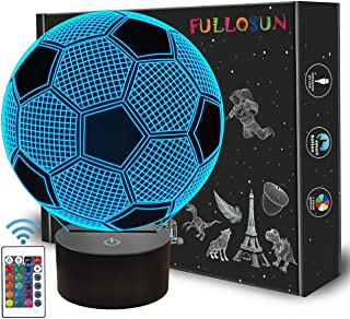Kids Night Light Football 3D Optical Illusion Lamp with Remote Control 16 Colors Changing Soccer Birthday Xmas Valentine's Day Gift Idea for Sport Fan Boys Girls