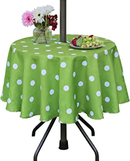 Poise3EHome 60 inches Outdoor/Indoor Waterproof Spillproof Round Tablecloth with Umbrella Hole for Camping, Picnic, Afternoon Tea, BBQ, Green Dot
