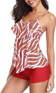 Holipick Women 2 Piece Flounce Printed Top with Boyshorts Tankini Bathing Suits