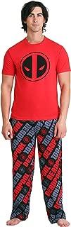 Mad Engine Deadpool Logo & Allover Print Adult Pajama Set