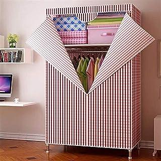 Liuyu Armoire simple en tissu simple et économique pour dortoir avec tube en acier pliable Rouge