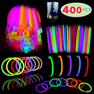 "Glow Sticks Bulk 400 8"" Glowsticks (Total 800 Pcs 7 Colors); Glow Stick Bracelets; Glow Necklaces; Glow in the Dark, July 4th, Christmas, Halloween Party Supplies Pack, Football Party Supplies"