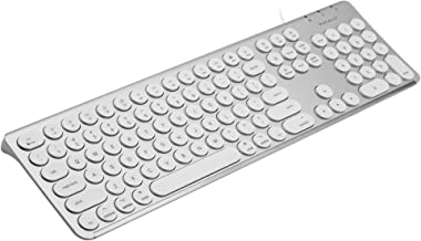 Macally Full-Size USB Wired Keyboard with Round Keys, 21 Shortcuts and Numeric Keypad, Compatible with Mac Mini Pro, iMac, MacBook Pro Air Laptops (Silver Aluminum)