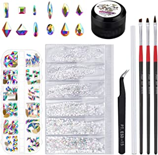 Rhinestones for Nails, Selizo 1728 Pcs Nail Art Rhinestones Crystals Charms with 120 Pcs Multi Shapes Nail Gems Diamonds and Nail Glue for Acrylic Nails Jewelry Decorations
