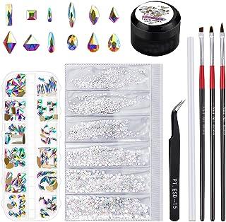 Rhinestones for Nails, Selizo 1728 Pcs Nail Art Rhinestones Crystals Charms with 120 Pcs Multi Shapes Nail Gems Diamonds a...