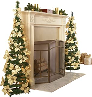 Collections Etc. Lighted Holiday Poinsettia Pull-Up Christmas Tree with White Poinsettias, White Lights and Greenery