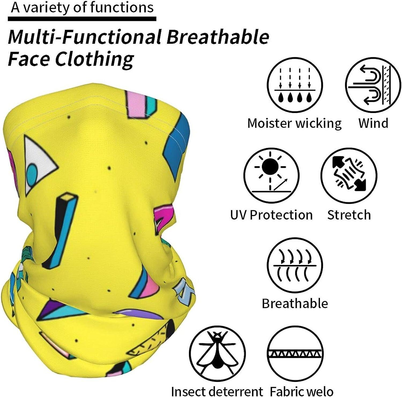 Retro 80s 90s Geometric2 Neck Gaiter Multipurpose Headwear Ice Silk Mask Scarf Summer Cool Breathable Outdoor Sport 2 Pcs