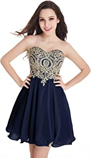 Babyonline Junior's Gold Lace Short Homecoming Dresses
