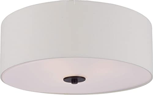 "discount Maxim 10010OMOI lowest Bongo Linen Drum Flush Mount Ceiling Light, 3-Light 180 Total Watts, 8""H x popular 18""W, Oil Rubbed Bronze sale"