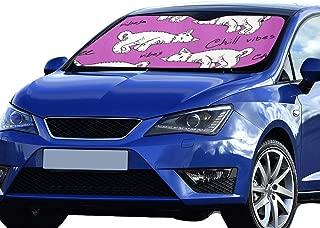 GUJGK Car Windshield Sun Shade Sleepy Cats Pattern 55x30 Inch Anti-uv Coating Protect Seats Foldable Polyester and Aluminized Film Car Sun Shade Eyes
